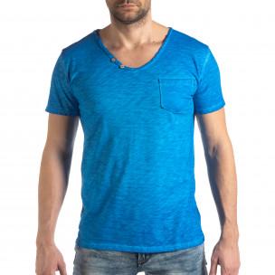 Ανδρική γαλάζια κοντομάνικη μπλούζα Vintage στυλ