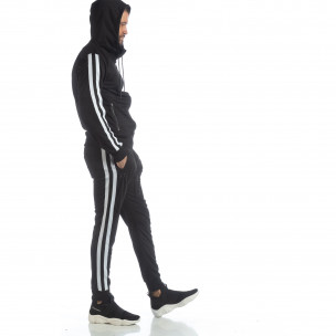 Ανδρικό μαύρο αθλητικό σετ Biker στυλ