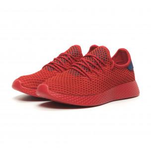 Ανδρικά κόκκινα αθλητικά παπούτσια Mesh με μπλε λεπτομέρειες 2