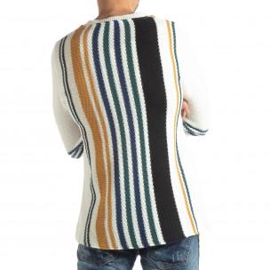 Ανδρικό λευκό πουλόβερ με πολύχρωμο ριγέ  2