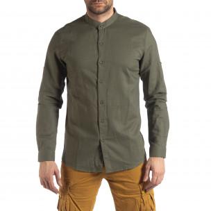 Ανδρικό πράσινο πουκάμισο από λινό και βαμβάκι Leeyo 2