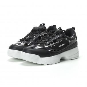 Γυναικεία μαύρα καρέ sneakers με Chunky πλατφόρμα  2