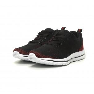 Ανδρικά πλεκτά αθλητικά παπούτσια σε μαύρο-κόκκινο  2