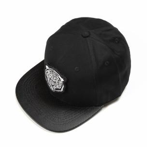 Μαύρο καπέλο με λευκή στάμπα