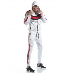 Ανδρικό λευκό αθλητικό σετ με ρίγες και κουκούλα