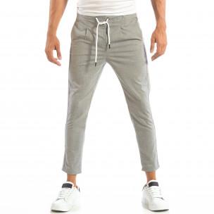 Ανδρικό γκρι ριγέ παντελόνι   2