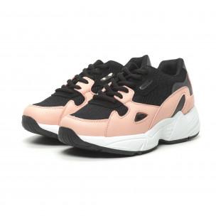 Γυναικεία ροζ αθλητικά παπούτσια με χοντρή σόλα FM 2