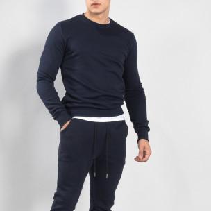 Ανδρική σκούρα μπλε βαμβακερή μπλούζα Basic
