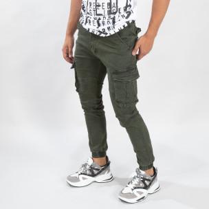 Ανδρικό πράσινο παντελόνι cargo  με λάστιχο