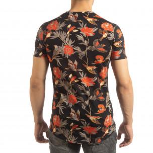 Ανδρική πολύχρωμη κοντομάνικη μπλούζα με εξωτικά σχέδια 2
