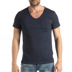 Ανδρική σκούρα μπλε κοντομάνικη μπλούζα Vintage στυλ