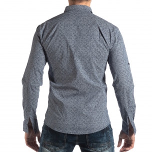 Ανδρικό γαλάζιο Slim fit πουκάμισο με φλοράλ μοτίβο 2