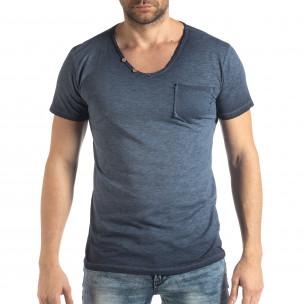 Ανδρική μπλε κοντομάνικη μπλούζα Vintage στυλ