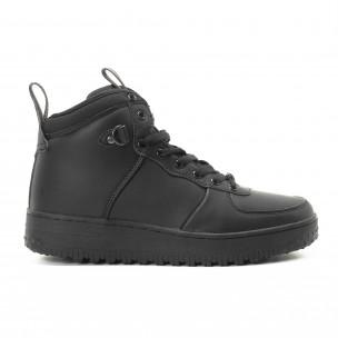 Ανδρικά μαύρα ψηλά sneakers με τρακτερωτή σόλα