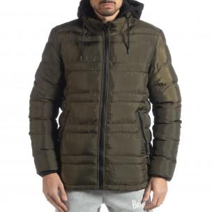 Ανδρικό χειμερινό μπουφάν με κουκούλα σε χρώμα military   2