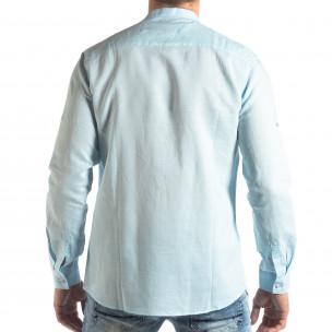 Ανδρικό γαλάζιο πουκάμισο από λινό και βαμβάκι  2