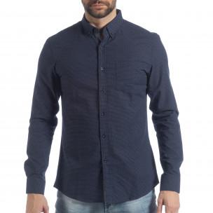 Ανδρικό μπλε πουά πουκάμισο Slim fit