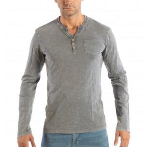 Ανδρική γκρι μπλούζα με κουμπιά House