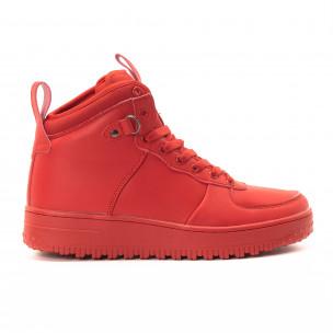 Ανδρικά κόκκινα ψηλά sneakers με τρακτερωτή σόλα