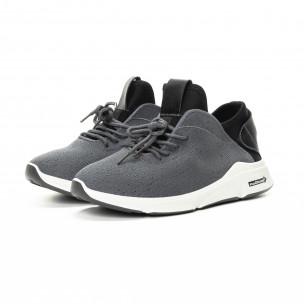 Ανδρικά αθλητικά παπούτσια σε γκρι και μαύρο από συνδυασμό υφασμάτων 2