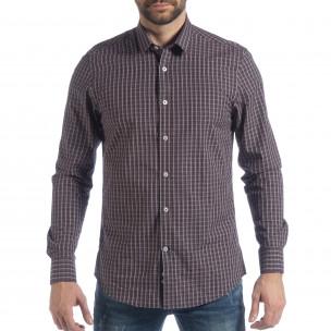 Ανδρικό μπλε καρέ βαμβακερό πουκάμισο Slim fit 2