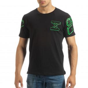 Ανδρική μαύρη κοντομάνικη μπλούζα με πράσινο νέον πρίντ