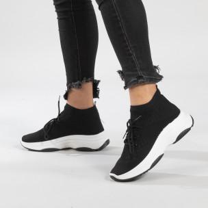 Γυναικεία μαύρα αθλητικά παπούτσια κάλτσα Chunky