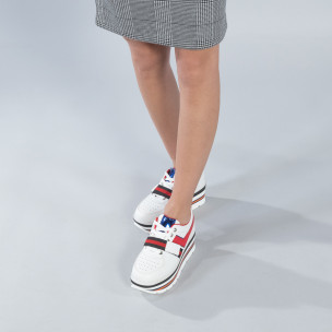 Γυναικεία λευκά sneakers με πλατφόρμα και πολύχρωμες διακοσμήσεις  2