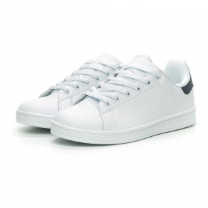 Γυναικεία Basic λευκά αθλητικά παπούτσια με μπλε λεπτομέρειεα  2