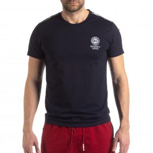 Ανδρική σκούρα μπλε κοντομάνικη μπλούζα με λογότυπο 2