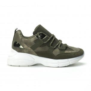 Γυναικεία χακί sneakers με πλατφόρμα  2
