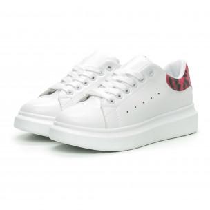 Γυναικεία λευκά sneakers με ροζ animal λεπτομέρεια  2