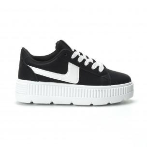 Γυναικεία μαύρα sneakers με πλατφόρμα και λευκή λεπτομέρεια