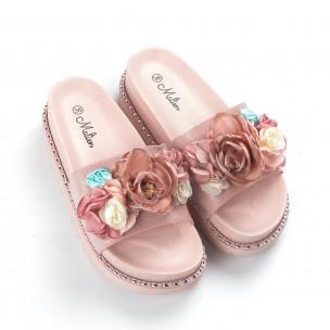 Γυναικείες ροζ παντόφλες με λουλούδια 2