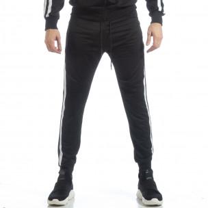 Ανδρική μαύρη φόρμα Biker με λευκή ρίγα  2