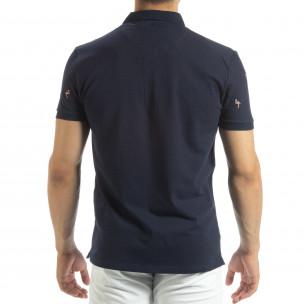 Ανδρική μπλέ polo shirt με Flamingo μοτίβο  2
