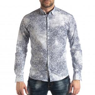 Ανδρικό λευκό Slimf fit πουκάμισο Vintage στυλ