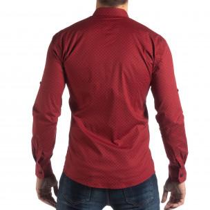 Ανδρικό κόκκινο Slimf fit πουκάμισο με σταυροτό μοτίβο  2