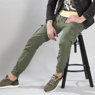 Ανδρικό πράσινο παντελόνι cargo με κορδόνια