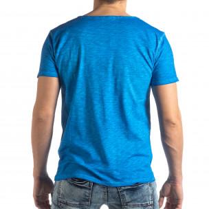 Ανδρική γαλάζια κοντομάνικη μπλούζα Vintage στυλ 2