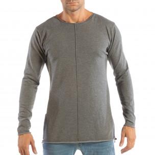 Ανδρική γκρι μπλούζα από πλεκτό ύφασμα με φερμουάρ
