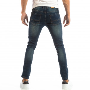 Ανδρικό μπλε τζιν Slim Jeans με τσαλακωμένο εφέ  2