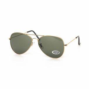 Ανδρικά μαύρα γυαλιά ηλίου πιλότου με χρυσαφί σκελετό
