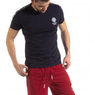 Ανδρική σκούρα μπλε κοντομάνικη μπλούζα με λογότυπο