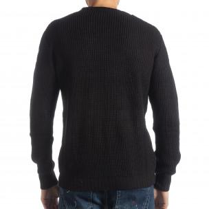 Ανδρικό μαύρο πλεκτό πουλόβερ   2