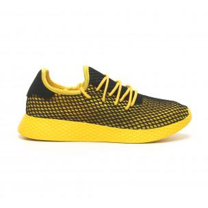 Ανδρικά κίτρινα αθλητικά παπούτσια Mesh με μαύρες λεπτομέρειες