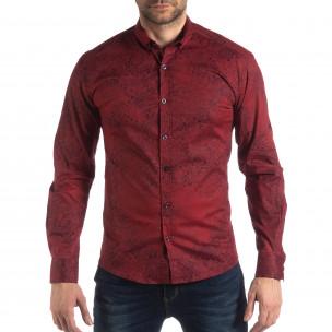 Ανδρικό μπορντό Slim fit πουκάμισο Vintage στυλ Baros