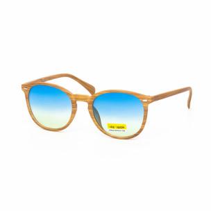 Ανδρικά γαλάζια γυαλιά ηλίου ξύλινο μοτίβο natural