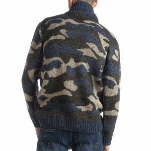 Ανδρικό μπλε πουλόβερ παραλλαγής με γιακά  2