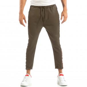 Ανδρικό πράσινο παντελόνι με ρίγες 2